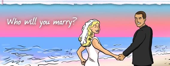 Illustration of couple on beach
